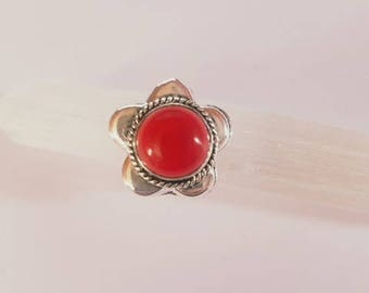 Red Coral Ring Red Coral Crystal Red Coral Stone Statement Ring Silver Plated Ring size 8