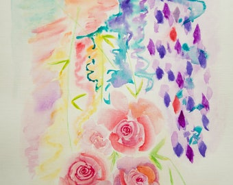 Abstract Art, Flowers, Original Watercolor Painting Artwork by AliiArtColors, Living room Wall Decor, 210x297mm
