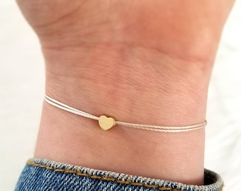 Tiny heart bracelet, gold heart bracelet, friendship bracelet, minimalist bracelet, simple bracelet, adjustable bracelet, string bracelet