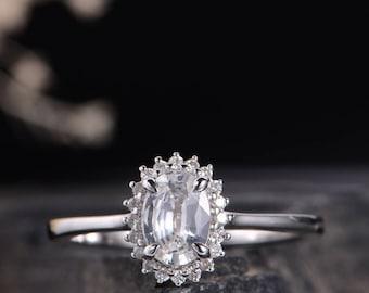 White Sapphire Engagement Ring Antique White Gold Wedding Bridal Ring Women Diamond Anniversary Promise Gift White Gold Halo Flower Antique