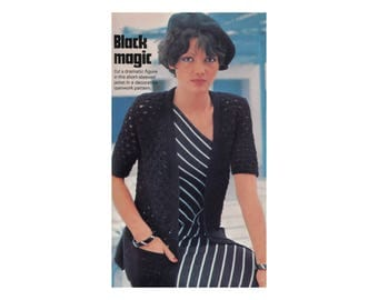 Cardigan Knitting Pattern - Crossed Openwork Jacket, Open Front, Short Sleeves, Pockets
