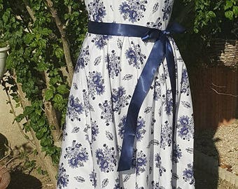 1 dress Provencal blue flowers. HAND MADE.
