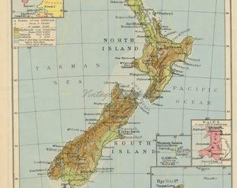 Vintage New Zealand map. New Zealand map print. New Zealand decor. New Zealand gift. New Zealand souvenir. New Zealand wall art. 1945