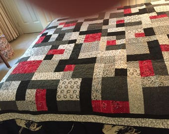 Double Bed Quilt - Red Black and White.  Machine pieced and quilted