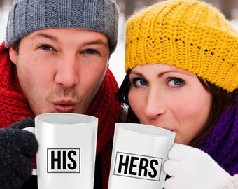 His Hers Matching Mug Christmas Hanukkah Birthday Gift Set - 11 oz Coffee Cups Husband Wife Mom Dad