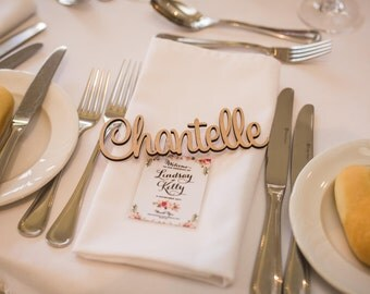 x10+ Personalised Laser Cut Wooden Names - Weddings Events Place Cards Gifts Favour Favors Party Rustic Custom Guests Tags Signs Plate Table