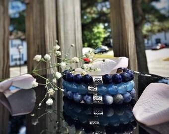 Aquarius birthstone bracelet for men, Aquarius charm beaded bracelet for her, Aquarius zodiac bracelet for him, zodiac bracelets set