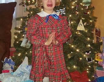 Vintage Sears plaid long sleeve girls dress with white collar
