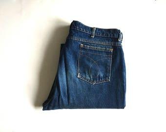 Vintage Men's 70's Farah Jeans, Straight Leg, Dark Wash, Denim (W36)