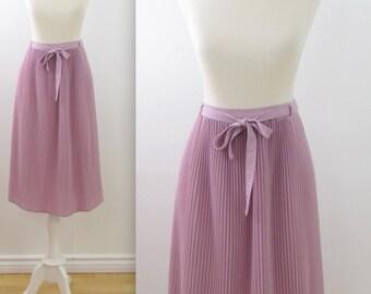 Dusky Mauve Pleated Skirt - Vintage 1970s Preppy Full Skirt in Medium Large