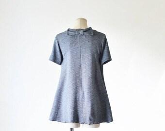 Short Sleeve Swing Top w/ back bow/Cotton Top/ Women's Work Top/ Short Sleeve Tunic/ Flowy Women's Top/ Office Wear/ Business Wear