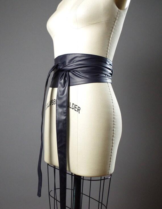 Vegan Leather Obi Belt - Navy Leather Obi Belt - Women's Wrap Belt - Leather Obi Belts - Double Wrap Obi Belt