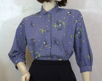 "1950's ""PALMDAYL""  Blue Cotton 3/4 Sleeve Novelty Print Blouse / Size: Small - Medium"