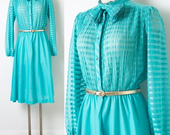 80s Dress, Vintage Teal Dress, Vintage Green Dress, Vintage bow tie dress, Vintage Secretary dress, 80s secretary dress - M/L