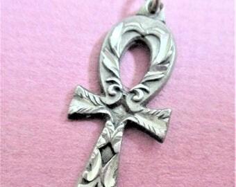Silver Ankh Cross Necklace Pendant Vintage Ankh Cross Egyptian Symbol of Life Jewelry Pendant Marked Sisklyou Inc 1997 Egyptian Jewelry RAP1