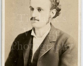 CDV Carte de Visite Photo - Victorian Young Distinguished Man with Mustache Portrait - J F Long Exeter England - Antique Photograph