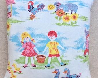 Vintage Nursery Rhyme Fabric Cushion 40cm x 40cm