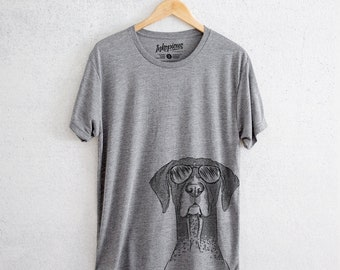 Mattis the German Shorthair Pointer - Tri-Blend Unisex Crew Grey - Dog Lover Gift