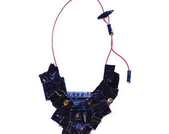 SALE / Jeans Necklace / Textile jewelry / Denim Necklace / Reused Jeans Necklace / Blue Jeans Necklace / Recycled Jeans Necklace
