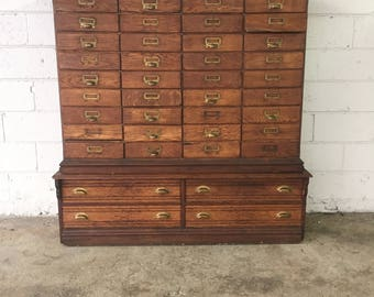 Antique Oak 40 Drawer Lawyers RIVAL File Cabinet , Apothecary , Parts Bin, Pharmacy, Storage Bin, Wood Cabinet