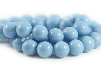Czech Style Smooth Round Glass Druk Beads Opaque Pale Baby Blue 10mm