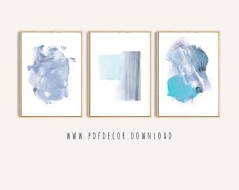 Set of 3 Abstract Art, Set of 3 Blue Prints, Set of 3 Prints, Set of 3 Wall Art, Blue Abstract Set, Modern Minimalist, Blue Modern Art, Art