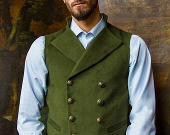 Gentleman's Regency Waistcoat (Bracken-Green Moleskin)