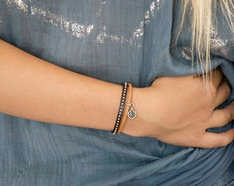 Wrapped Leather Women Bracelet, Genuine Leather Studded Cuff Wrap Bracelet, Round Studs, Chic Urban Modern, Double Strand, Beads Bangle.