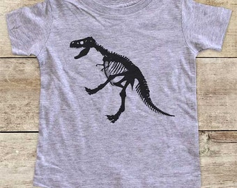 Dino Dinosaur Bones (d2) fossil animal t rex tyrannosaurus in museum trip - Baby bodysuit Toddler youth Shirt cute birthday baby shower gift