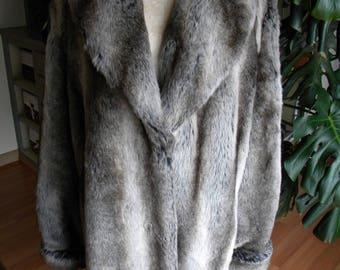 Fantastic faux chinchilla fur coat / jacket / vegan fur / winter coat / fake fur / outerwear
