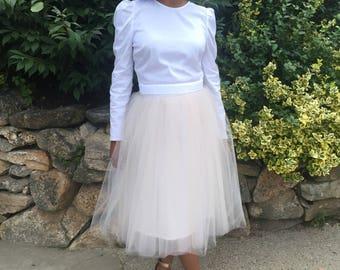 Tulle Skirt - Mother of Pearl, Adult Tutu, Midi Skirt, Midi Tutu, Adult Tulle Skirt, Tüllrock, Bridesmaid Skirt, Black Owned Shop
