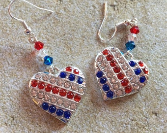 4th of July Jewelry, Independence Day Jewelry, Heart Earrings, 4th of July Earrings, Gifts, Gift Ideas, For Her, Jewelry