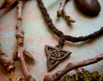 Triskele Celtic Knot Nordic Tribal Verdigris Amulet Necklace