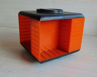 Vintage 80s  Audio Cassette Holder, Plastic Orange Audio Tape Storage, Rotary holder for audio tapes, Audio cassettes stacking