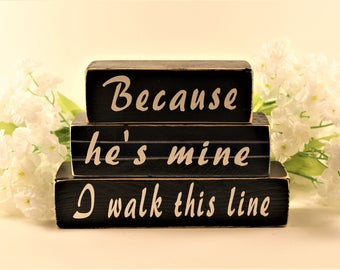 Small Wood Sign, Thin Blue Line, Blue Line, Policeman, Police Officer, First Responder, Police, He's Mine, I Walk This Line, Walk This Line