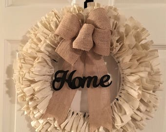 Front Door Wreath, Rustic, Country, Farm House Fabric Wreath, Country Wreath, Fall Wreath, Spring Wreath, Rag Wreath Farmhouse