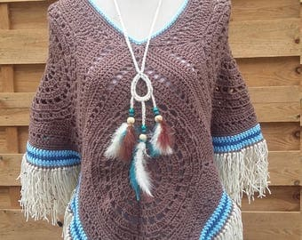"""Poncho and bohemian necklace """"Apache"""""""