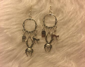 Witchy Halloween charmed dream catcher earrings