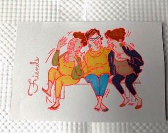 Friends Stamped Framed Art//Home Decor//Photo Art//Stamped Art//Paper Crafts//Art//Framed Art