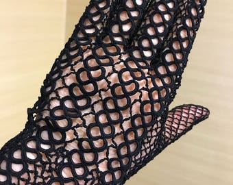 antique ladylike elegance lace gloves 1930 crochet and tatting Size 7 to 8 eur. Excellent condition New like.