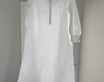 Antique 1900 Embroidered Nightgown/ French Chemise Pure Cotton Small excellent condition.Hand Sewn.Hand embroidered Monogram M L For women