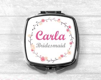 Personalised Bridesmaid Compact Mirror, Cosmetic Mirror, Pocket Mirror, Bridesmaid Gift, Wedding Gift,  UK
