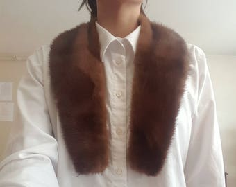 1940's Mink Fur Collar Scarf Wrap - Dark Chocolate Brown