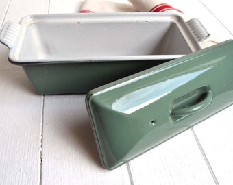 Vintage French Le Creuset Cast Iron Pate Terrine Loaf Pan Dutch Oven Sage Green Enamel Cookware Size 24