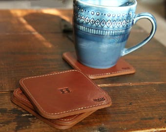 Personalized Groomsmen Gift - The Ranch House Fine Leather Coaster Set of 4 - Groomsman Gifts - Wedding Party Gift - Best Man Gift