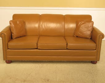 F44182EC: Vintage BAKER Leather 3 Seat Sofa