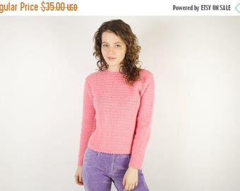ON SALE Pink Crochet Sweater Womens Crocheted Top Size Small