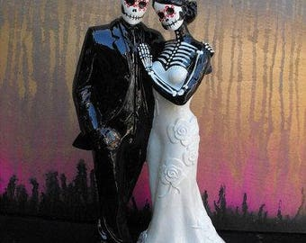Wedding Cake Topper Day of the Dead Skeleton Couple Bald Groom