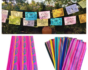 Mexican fiesta party pack, 1 pastel colors papel picado banner, 1 pink table runner, 6 striped napkins. Fiesta party supplies and decor