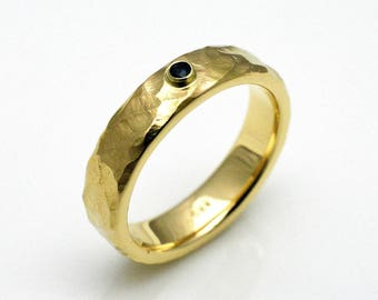 Ring with Sapphire, gold 14k, 5 mm wide